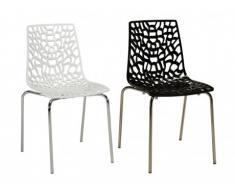 Lot de 4 chaises empilables DIADEME - Polypropylène - Pieds en métal chromé - Noir Encre