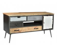 Meuble TV CHAPLIN - 4 tiroirs & 1 porte - Bois de manguier & métal