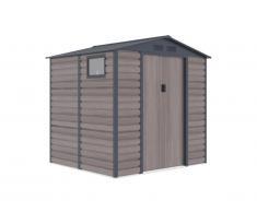 Abri de jardin en acier galvanisé effet bois ADELMO - gris - 4,15 m²