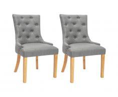 Lot de 2 chaises JOLIA - Tissu et pieds bois - Gris