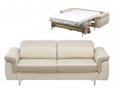 Canapé 3 places convertible express MAYEUL en cuir et microfibre - Beige