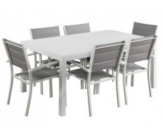 Salle à manger de jardin extensible ALERON en aluminium: une table L160/240cm et 6 fauteuils empilables