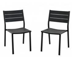 Lot de 2 chaises de jardin empilables SAIPAN en aluminium
