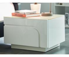 Chevet design BRADY - 1 tiroir - MDF laqué blanc et verre trempé