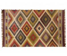 Tapis kilim tissé main en laine et jute CARNAVAL - 160x230cm - Multicolore