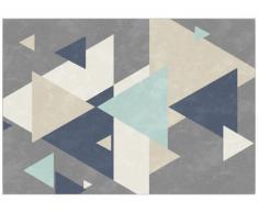 Tapis style design PATCHWORK - Polypropylène - 160x230 cm - Gris et bleu