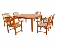 Salle à manger de jardin MAKATI en acacia : 1 table et 6 fauteuils