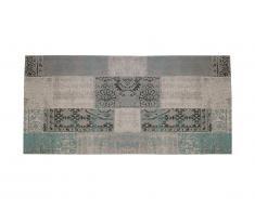 Tapis de couloir vintage TURIN - 100% polyester - 80 x 200 cm - Bleu gris
