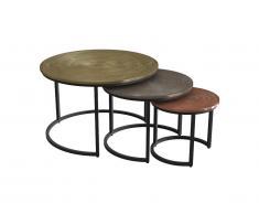 Tables basses gigognes CANDEUR - Motifs sculptés - Acier - Coloris : Doré, argent, cuivre