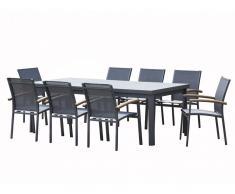 Salle à manger de jardin extensible NAURU en aluminium: une table extensible L220/300cm et 8 fauteuils empilables