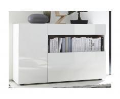 Buffet ALTAIR - 2 portes & 1 tiroir - Coloris : Blanc laqué