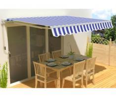 Store rétractable manuel PALEAS 3,95 x 2,5m - bleu et blanc
