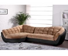 Canapé d'angle tissu et cuir LEANDRO - Caramel et noir - Angle gauche