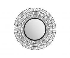 Miroir rond filaire style ethnique THEODORE - Fer - D.80 cm - Noir