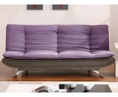 Canapé clic-clac en tissu et simili DEMIDO II - Violet et Gris
