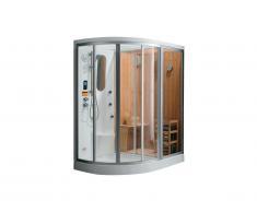 Cabine de douche intégrale d'angle HAUMEA fonction Hammam et Sauna - l157xP110xH215cm- Angle droit
