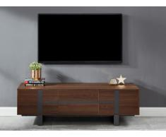 Meuble TV PETILLANTE - 3 portes - MDF & métal - Coloris : noyer