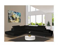 Canapé d'angle XL en simili ROMAIN - Noir - Angle gauche