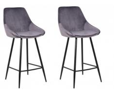 Lot de 2 tabourets de bar MASURIE - Velours - Gris