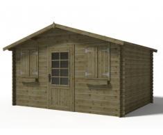 Abri de jardin chalet JOTEA en bois traité classe III - 12m² - toit en feutre bitumé