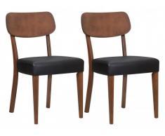 Lot de 2 chaises RUBBEN - Hêtre massif - Coloris Noyer & Noir