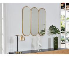 Miroir ovale en 3 parties AGUAMENTI - MDF - 80 x 80 cm - Liseré doré