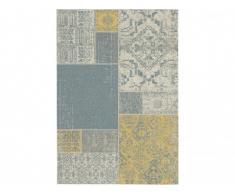 Tapis intérieur et extérieur GUIMAUVE - Polypropylène - 160 x 230 cm - Beige, jaune, bleu