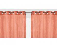 Lot de 2 rideaux à oeillets FIGUIERA - 100% lin - 140x260cm - Terracotta