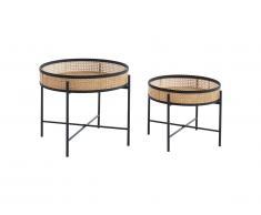 Tables basses HANOI - Bambou, Rotin et métal - Naturel & Noir