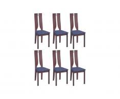 Lot de 6 chaises SILVIA - Hêtre massif - Noyer et bleu