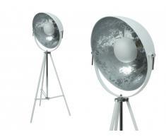 Lampadaire trépied studio industriel ELI - Métal - H. 166 cm - Blanc et argenté