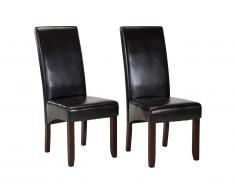 Lot de 2 chaises ROVIGO - Simili marron brillant - Pieds bois foncé