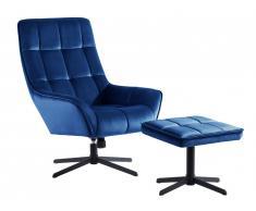 Fauteuil de relaxation avec repose-pieds en velours DANUTA - Bleu nuit