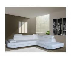 Canapé d'angle XL en simili ROMAIN - Blanc - Angle droit