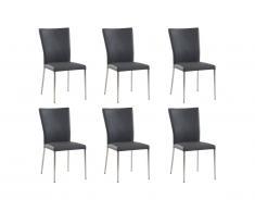Lot de 6 chaises TALICIA - Simili & acier brossé - Gris