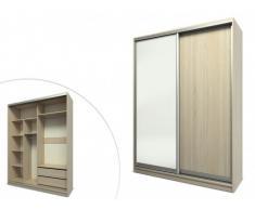 SOLDES - Armoire ZOYA - 2 portes coulissantes - L.160 cm - Chêne et blanc