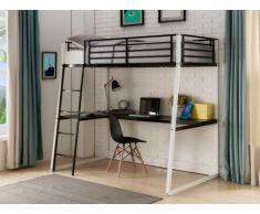 Lit mezzanine MALICIA - couchage 90x190cm - bureau d'angle intégré - coloris noir et blanc