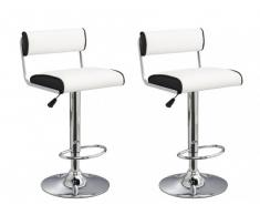 Lot de 2 tabourets de bar FRESNO II - Simili - Coloris blanc & noir