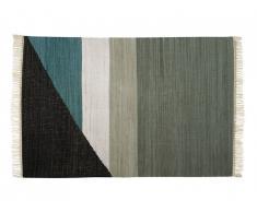 Tapis kilim tissé main en coton MYCENE - 120x170cm - Gris, noir, blanc et bleu