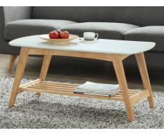 Table basse ALEXINE - MDF laqué & hévéa - Blanc & Chêne