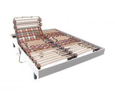 Sommier électrique de relaxation lattes et 2x30 plots déco bois blanc de DREAMEA - 2 x 90 x 200 cm - moteurs OKIN