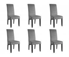 Lot de 6 chaises DELINA - Velours matelassé & pieds bois - Gris clair