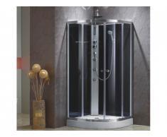 Cabine de douche hydromassante d'angle TALULA - 3 jets de massage - pluie tropicale et douchette