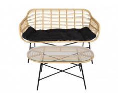 Canapé 2 places + table basse de jardin NOSARA en résine tressée - Assise noire