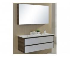 Ensemble de salle de bain ADELE double vasque en MDF avec meuble bas et miroir