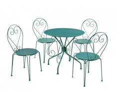 Salle à manger de jardin en métal façon fer forgé GUERMANTES: une table et 4 chaises empilables vertes