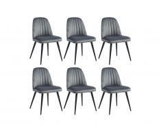 Lot de 6 chaises ELEANA - Velours & Métal Noir - Gris