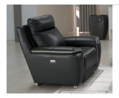 Fauteuil relax électrique PAOSA en cuir - Anthracite passepoil gris clair