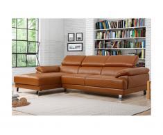 Canapé d'angle en cuir EXCELSIOR II - Caramel - Angle gauche