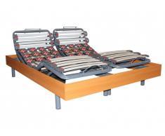 Sommier de relaxation 28 lattes et 40 plots déco bois merisier de DREAMEA - 2x70x190cm - moteurs OKIN